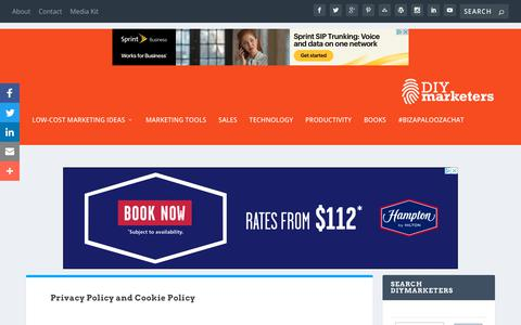 Screenshot of Privacy Page diymarketers.com - Privacy Policy and Cookie Policy | DIYMarketers - captured Aug. 13, 2019