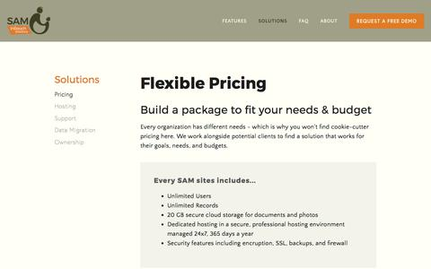 Screenshot of Pricing Page inreachsolutions.com - Pricing — SAM | InReach Solutions - captured June 7, 2017