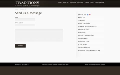 Screenshot of Contact Page traditions.com - Contact Us – Traditions Classic Home Furnishings - captured Oct. 7, 2014