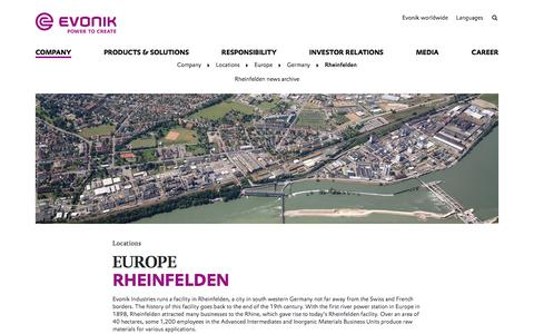 Evonik Industries - Specialty chemicals - Site Rheinfelden, Germany - Evonik Industries AG