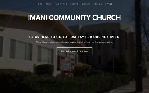 Screenshot of Contact Page imanicc.org - Giving — IMANI COMMUNITY CHURCH - captured April 8, 2017
