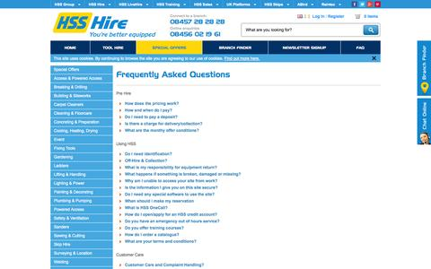 Screenshot of FAQ Page hss.com - HSS Hire › Frequently Asked Questions - captured Sept. 24, 2014