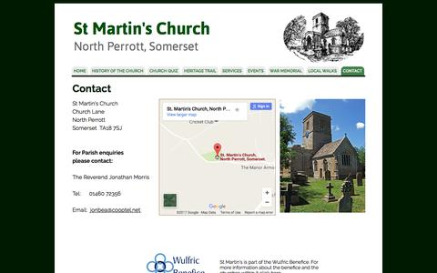 Screenshot of Contact Page Maps & Directions Page northperrottchurch.co.uk - St Martin's Church - How to find us and how to contact us - captured Feb. 28, 2017