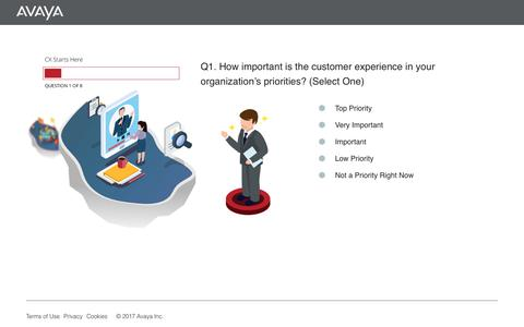 Screenshot of Landing Page avaya.com - Avaya | Digital Transformation Readiness Survey - captured April 27, 2018