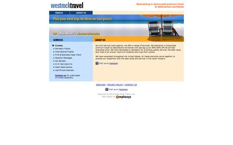 Screenshot of Home Page Services Page westrocktravel.com - West Rock Travel - Specializing in discounted premium travel to destinations worldwide. - captured Sept. 30, 2014
