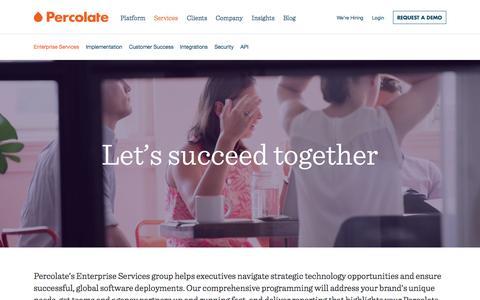Screenshot of Services Page percolate.com - Enterprise Services and Customer Success | Percolate - captured Nov. 17, 2015