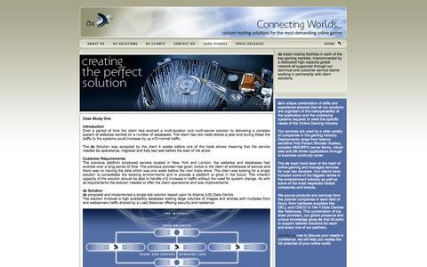 Screenshot of Case Studies Page dx.net - dx case studies - MMO, MMORPG and online game hosting & servers - captured Sept. 30, 2014
