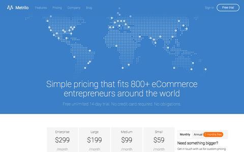 Screenshot of Pricing Page metrilo.com - Pricing - Metrilo - captured April 8, 2016
