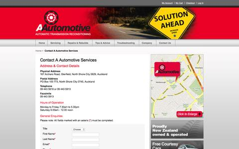 Screenshot of Contact Page Hours Page aautomotive.co.nz - Contact A Automotive Services   Automatic Transmission Reconditioners   A Automotive Services - captured June 16, 2016
