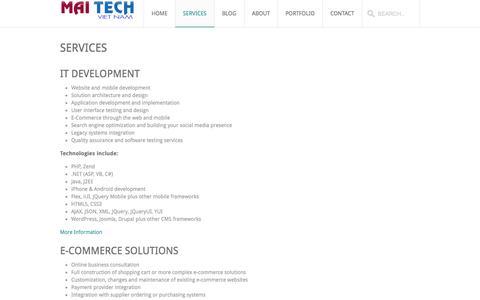 Screenshot of Services Page maitechvietnam.com - MaiTech Vietnam – E-commerce Solutions  » Services - captured Sept. 30, 2014