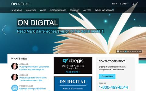 Screenshot of Home Page opentext.com - The Leader in Enterprise Information Management | OpenText - captured Dec. 3, 2015