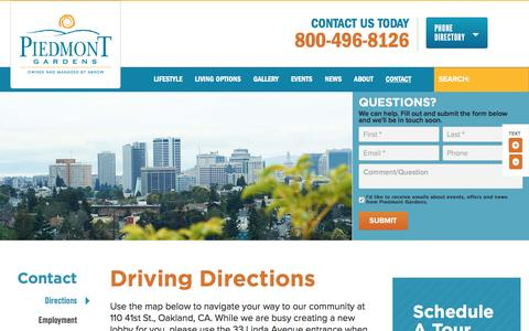 Screenshot of Maps & Directions Page piedmontgardens.com - Directions to Our Community | Piedmont Gardens - captured April 9, 2017