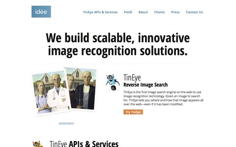 Screenshot of Home Page ideeinc.com - Idée Inc. - The image search and recognition company - captured March 17, 2016