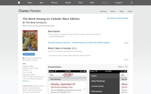 Screenshot of iOS App Page apple.com - The Word Among Us Catholic Mass Edition on the App Store on iTunes - captured Nov. 5, 2014