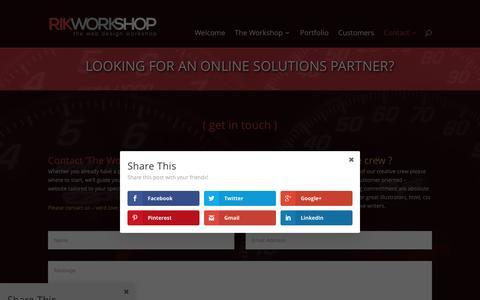 Screenshot of Contact Page rikworkshop.com - Contact the Workshop - rikworkshop.com - captured Feb. 17, 2016