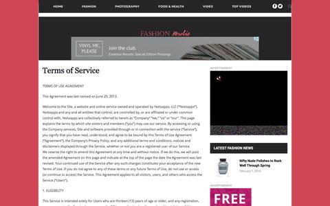 Screenshot of Terms Page fashionnewbie.com - Terms of Service - Fashion NewbieFashion Newbie - captured Feb. 2, 2016