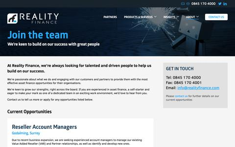 Screenshot of Jobs Page realityfinance.com - Asset Finance Careers – Join the team | Reality Finance - captured Oct. 19, 2018