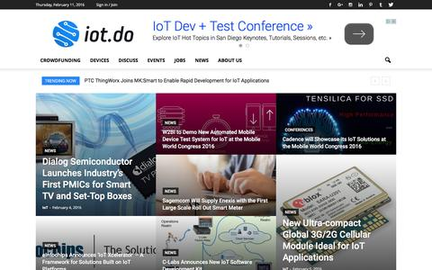 Screenshot of Home Page iot.do - IoT - Internet of Things - captured Feb. 11, 2016
