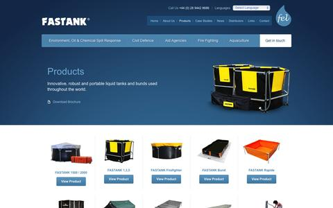 Screenshot of Products Page fastank.com - FASTANK, Oil Spill Containment, Portable Water Tanks, Oil Spill Clean Up - captured Feb. 9, 2016