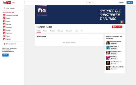Screenshot of YouTube Page youtube.com - Fie Gran Poder  - YouTube - captured Oct. 23, 2014