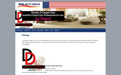 Screenshot of Pricing Page doubledcarpetcare.com - Pricing - captured Oct. 5, 2014