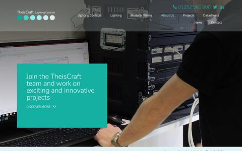 Screenshot of Jobs Page theiscraft.co.uk - Join the TheisCraft team and work on exciting and innovative projects - TheisCraft Lighting Controls - captured Oct. 20, 2018