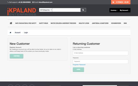 Screenshot of Login Page ikpaland.com - Account Login - captured Sept. 8, 2016