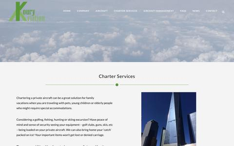 Screenshot of Services Page kouryprivatejetcharter.com - Private aircraft charters - for vacations & transporting goods - captured Oct. 16, 2018