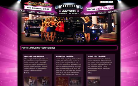 Screenshot of Testimonials Page fantasyhummerlimos.com.au - Perth Limousine Testimonials - Fantasy Hummer Limousines - captured Oct. 5, 2014