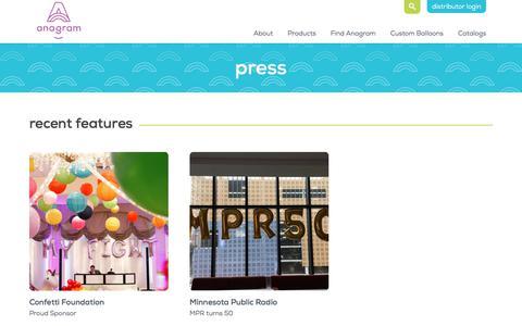 Screenshot of Press Page anagramballoons.com - Anagram - Press - captured Oct. 8, 2017