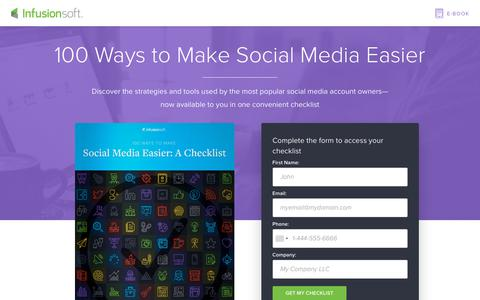 Screenshot of Landing Page infusionsoft.com - 100 Ways to Make Social Media Easier - captured Sept. 21, 2018