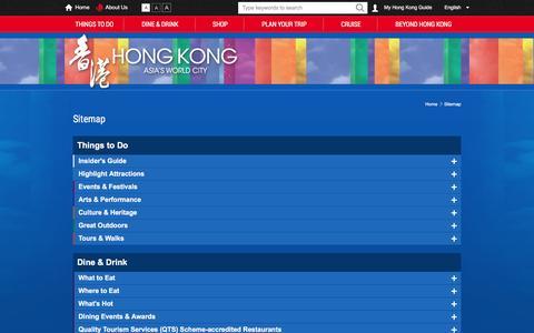 Screenshot of Site Map Page discoverhongkong.com - Sitemap   Hong Kong Tourism Board - captured Aug. 21, 2016