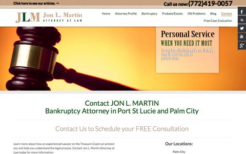 Screenshot of Contact Page jonlmartinlaw.com - Contact Bankruptcy Lawyer Port St Lucie and Palm City - Jon L. Martin - captured Nov. 27, 2016