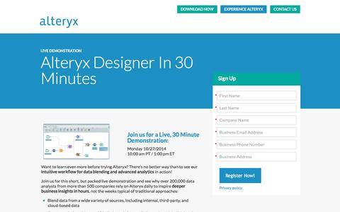 Screenshot of Landing Page alteryx.com captured May 25, 2016