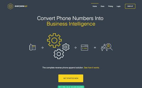 Screenshot of Home Page everyoneapi.com - Convert Phone Numbers Into Business Intelligence | EveryoneAPI - captured Nov. 5, 2015