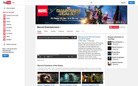 Screenshot of YouTube Page youtube.com - Marvel Entertainment  - YouTube - captured Oct. 22, 2014