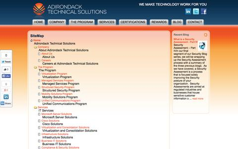 Screenshot of Site Map Page adktechs.com - SiteMap : Adirondack Technical Solutions - captured Oct. 4, 2014