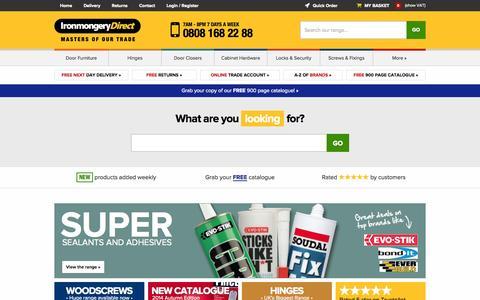 Screenshot of Home Page ironmongerydirect.co.uk - IronmongeryDirect | Hinges, Door Handles & Furniture, Closers, Locks | UK's biggest range of architectural ironmongery - captured Oct. 22, 2014