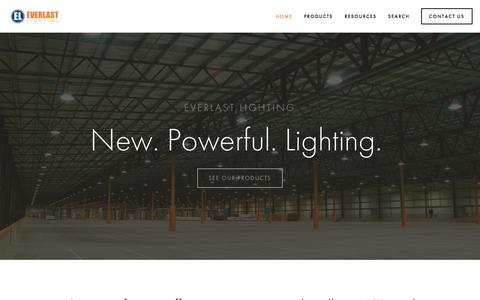 Screenshot of Home Page everlastlight.com - Everlast Lighting | LED High Bay, LED Street and Area and LED Garage Fixture Leaders - captured Sept. 18, 2015