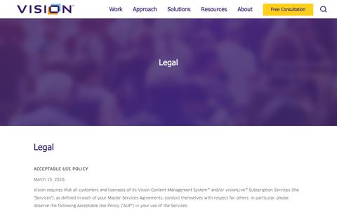 Screenshot of Terms Page visioninternet.com - Legal | Vision - captured Sept. 28, 2018
