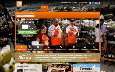 Screenshot of Jobs Page homedepot.com - Home Depot Careers - captured Dec. 3, 2015