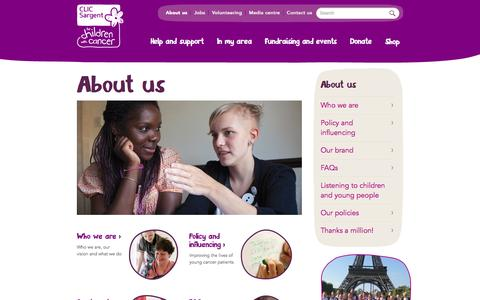 Screenshot of About Page clicsargent.org.uk - About us | CLIC Sargent - captured Sept. 19, 2014