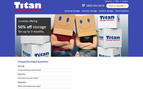 Screenshot of FAQ Page titanstorage.co.uk - Titan Storage Solutions - captured Jan. 13, 2016