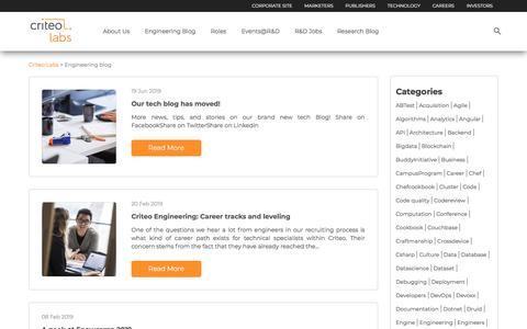 Screenshot of Blog criteo.com - Engineering blog - Criteo Labs - captured Nov. 18, 2019