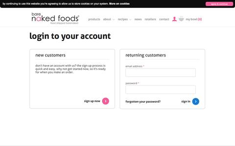 Screenshot of Login Page barenakedfoods.co.uk - Login To Your Account - Bare Naked Foods - captured Oct. 5, 2014