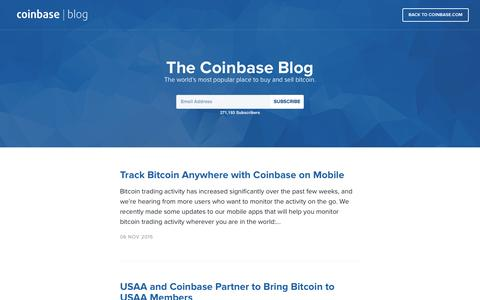Screenshot of Blog coinbase.com - The Coinbase Blog - captured Nov. 14, 2015