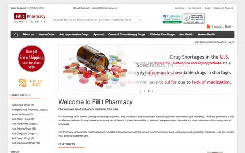 Screenshot of Home Page fillitpharmacy.com - Best Online Pharmacy Store USA: Buy Medical Equipments Online, Cancer Care, Men's Women's Health Care - captured Sept. 30, 2014