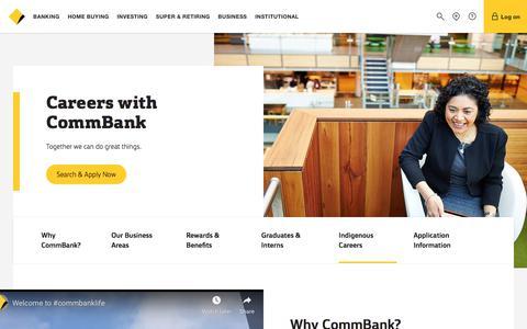 Screenshot of Jobs Page commbank.com.au - Careers - CommBank - captured Sept. 17, 2019