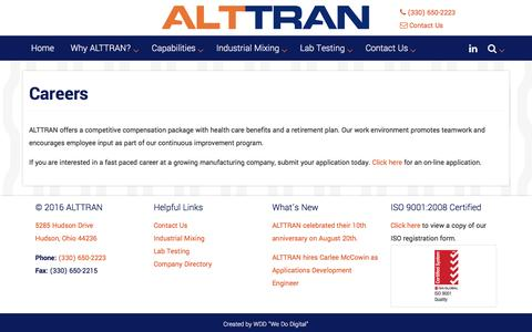 Screenshot of Jobs Page alttran.com - Careers | ALTTRAN - Rubber Industry Specialists - captured July 25, 2016