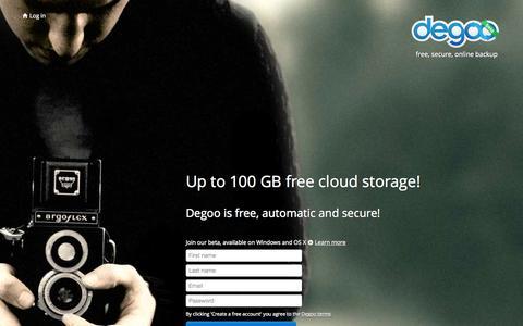 Screenshot of Landing Page degoo.com - 100 GB free online backup | Degoo - captured Oct. 27, 2014